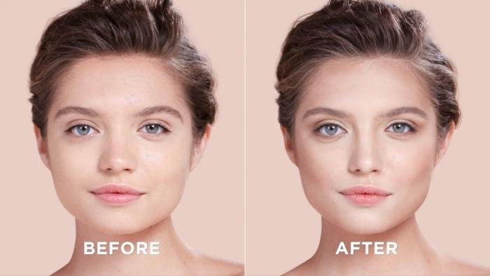 exemple de la technique tendance maquillage lumineux, contouring avant apres avec pommettes et front sculptés