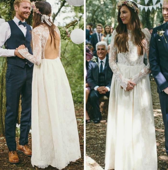 une robe de mariée bohème à manches longues en dentelle avec un dos décolleté rond et des applications de fil brodé sur la jupe fluide