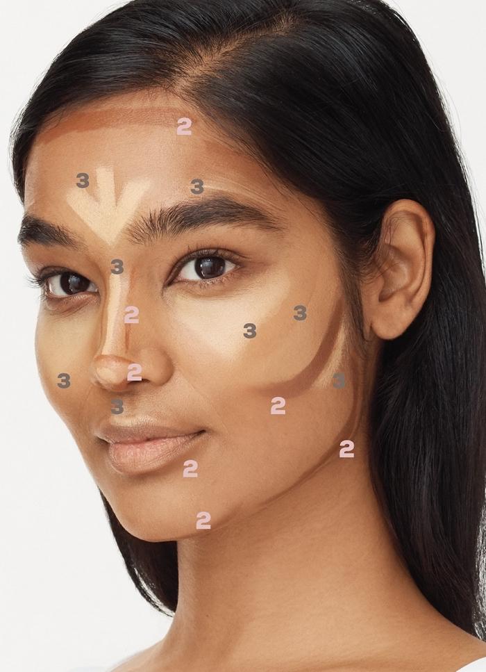 contouring comment faire, quels produits utiliser pour sculpter le visage bronzé, correcteur sur peau mate choix de couleur