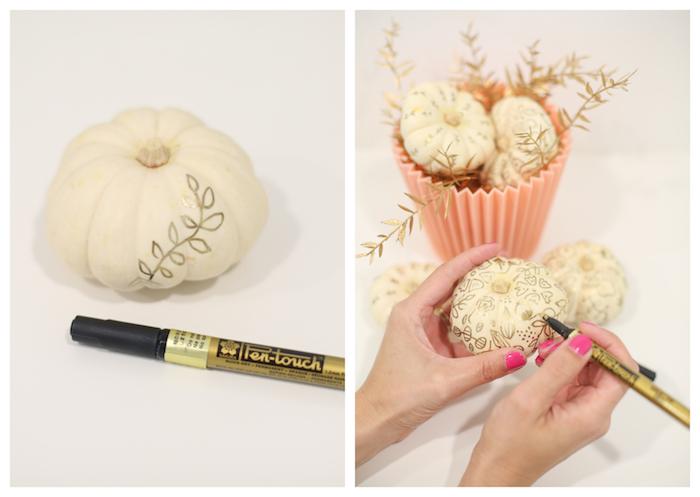 dessins sur citrouille de motifs floraux mandala indélébile couleur or, centre de table mini citrouilles dans cache pot