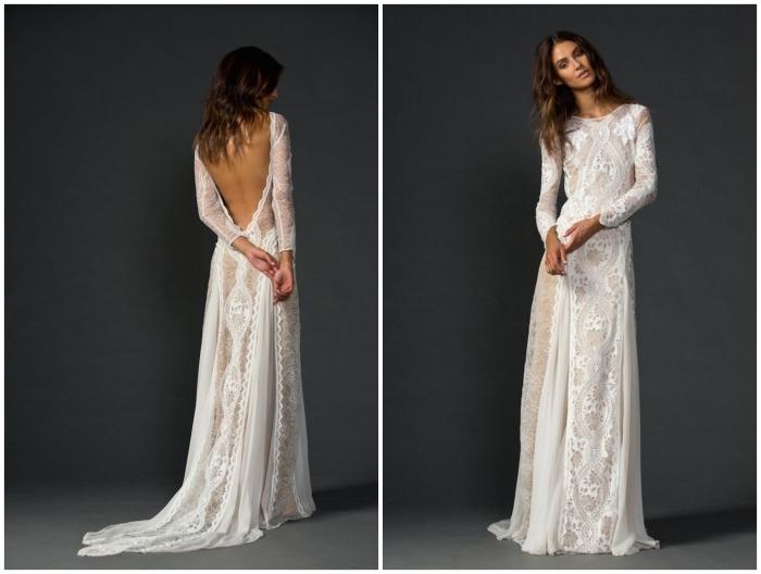 robe de mariée dos nu dentelle d'allure bohème chic aux effets de transparence et au dos plongeant profond