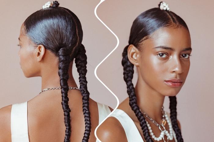 idée pour une coiffure originale sur cheveux ondulés ou lisses avec deux tresses et raie en petite natte décorée d'accessoire en perles blanches