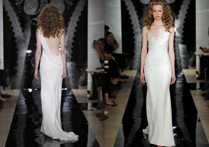 le jeu d'asymétrie et le décolleté plongeant à tombé parfait font l'originalité de cette robe de mariée dos nu
