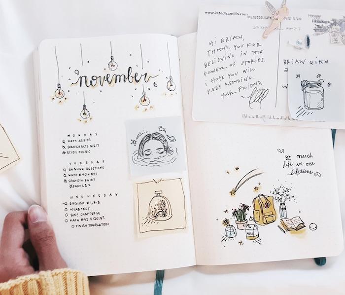 semainier pour le mois de novembre, bullet journal idées simples, écriture typographique, dessins simples schéma décoratif jaune