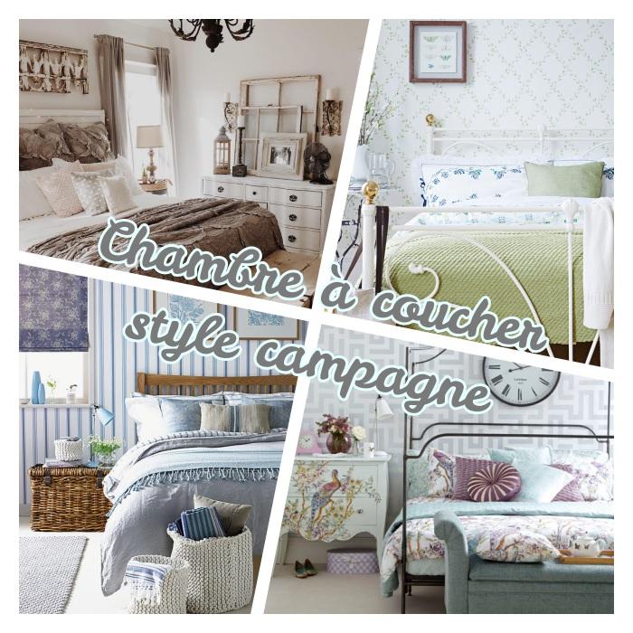 exemples de chambre à coucher style campagne chic, lit bois ou metal, commode vintage, bout de lit coffre ou panier de rotin, linge de lit fleuri, objets deco vintage chic