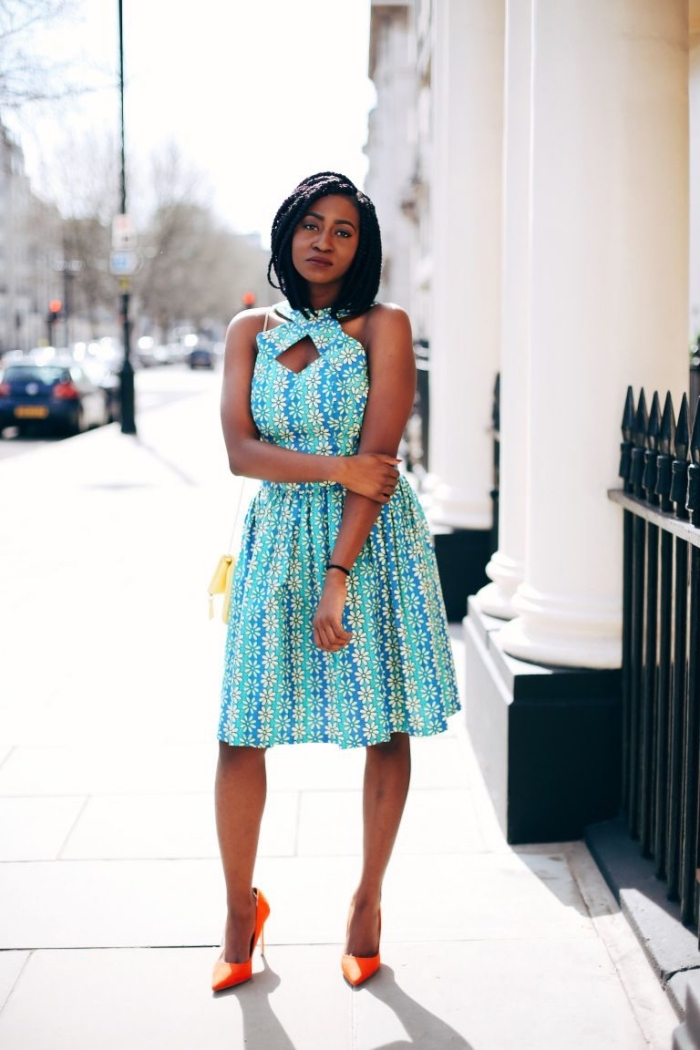 jolie robe turquoise vetement africain femme chic