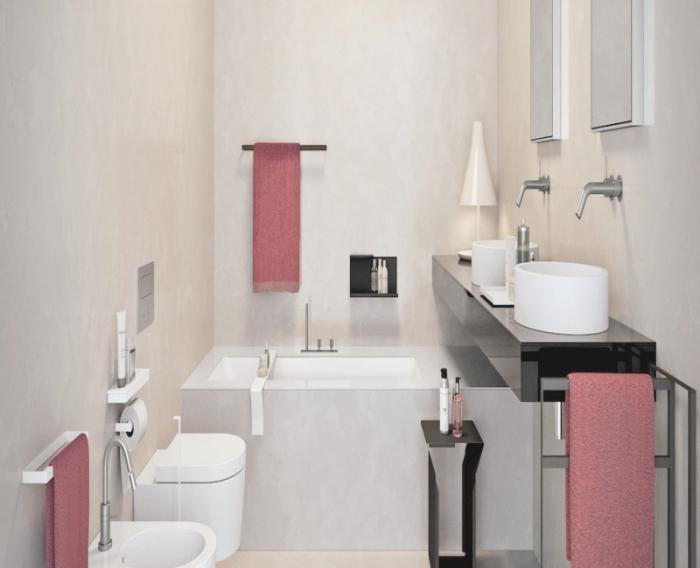comment intégrer une petite baignoire sabot dans une salle de bain à espace limité, design intérieur en couleurs neutres