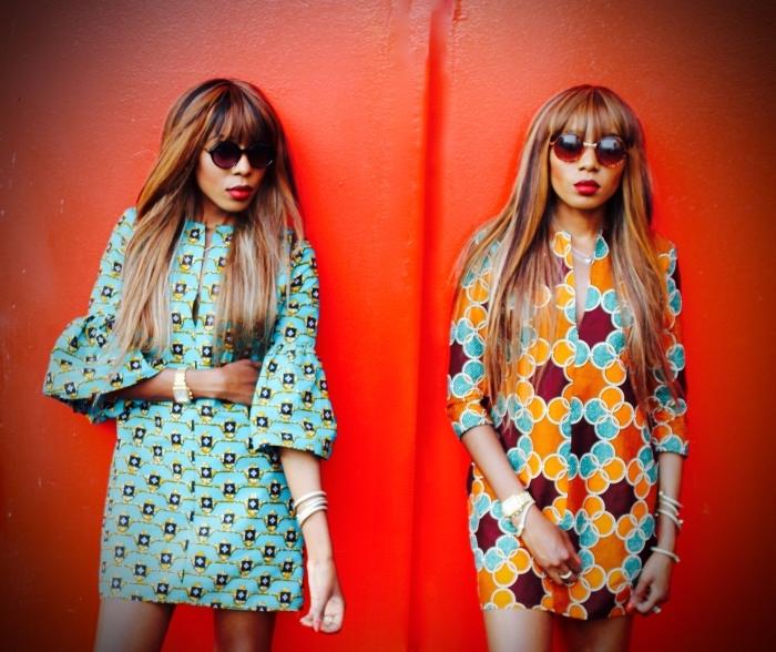 robe tunique à motifs graphiques africains qui donnent un petit air vintage à la pièce, modele pagne africain moderne