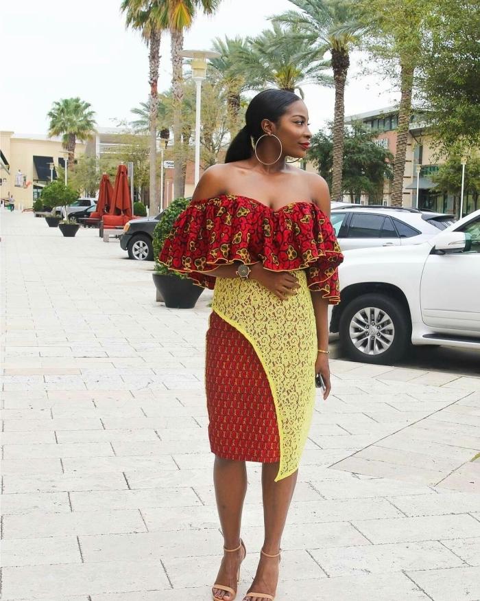 modele de robe africaine volantée qui fait très chic et féminine avec ses épaules dénudés et ses détails en dentelle sur la jupe