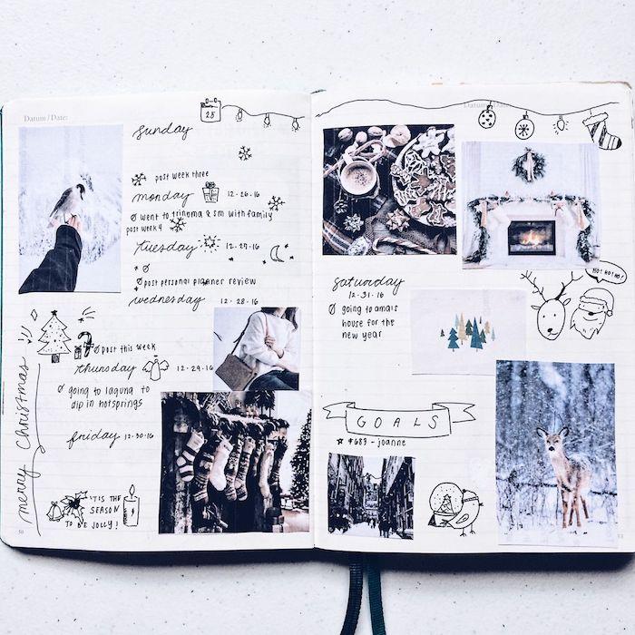 cahier personnalisé de type carnet bullet journal avec semainier, temps de fêtes de noël avec photos et dessins de noël et hiver