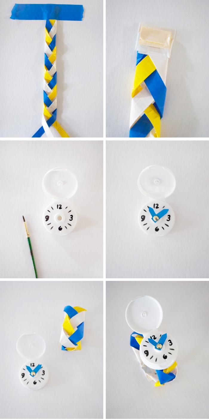 tuto bricolage récup pour enfants, réaliser une montre en capsule de bouteille en plastique