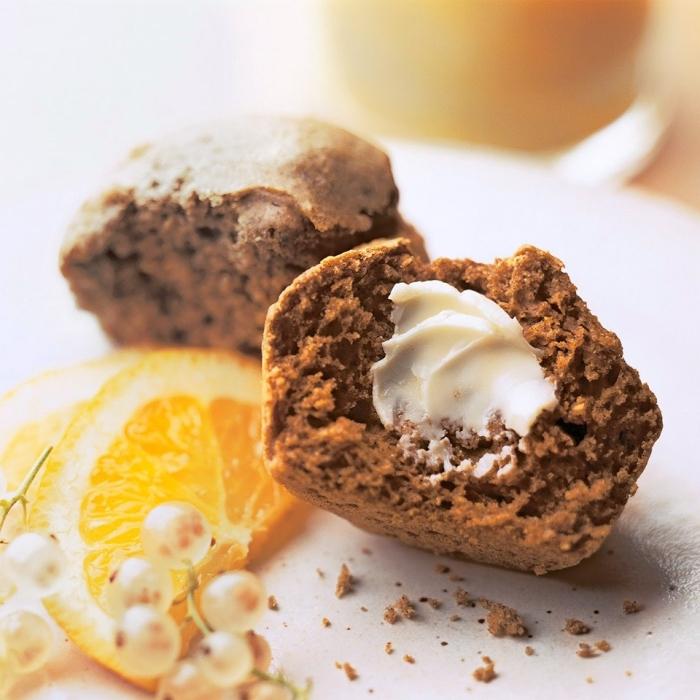 muffins à la citrouille sans gluten de sarrasin, au coeur de fromage à la crème, petit gateau a la citrouille idéal comme dessert ou en collation