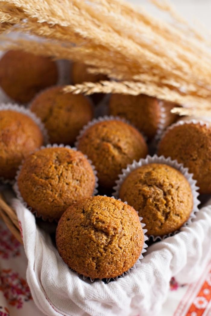 muffins moelleux à souhait de farine complète, à la citrouille et lait de coco, petit gateau citrouille pour se régaler tout l'automne