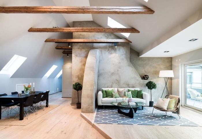 comment intégrer poutre en bois dans une déco de style industriel ou scandinave, déco stylée dans un salon aux murs blancs avec pan de mur en béton