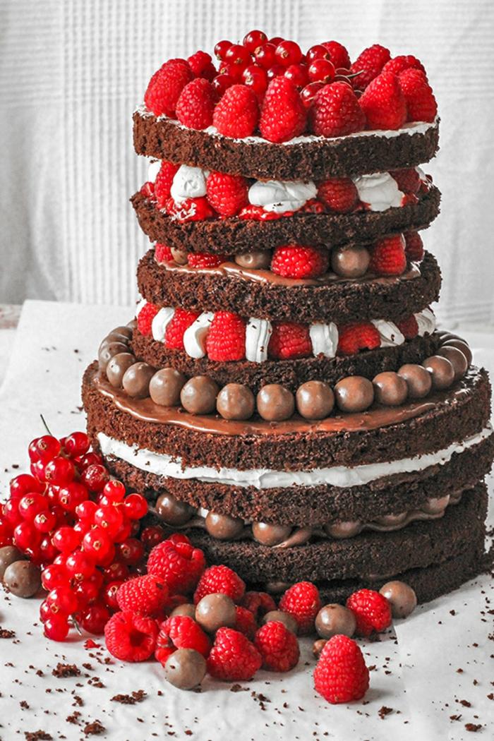 gateau de génoise, fraises fraîches, pièce montée anniversaire, plusieurs couches au cacao