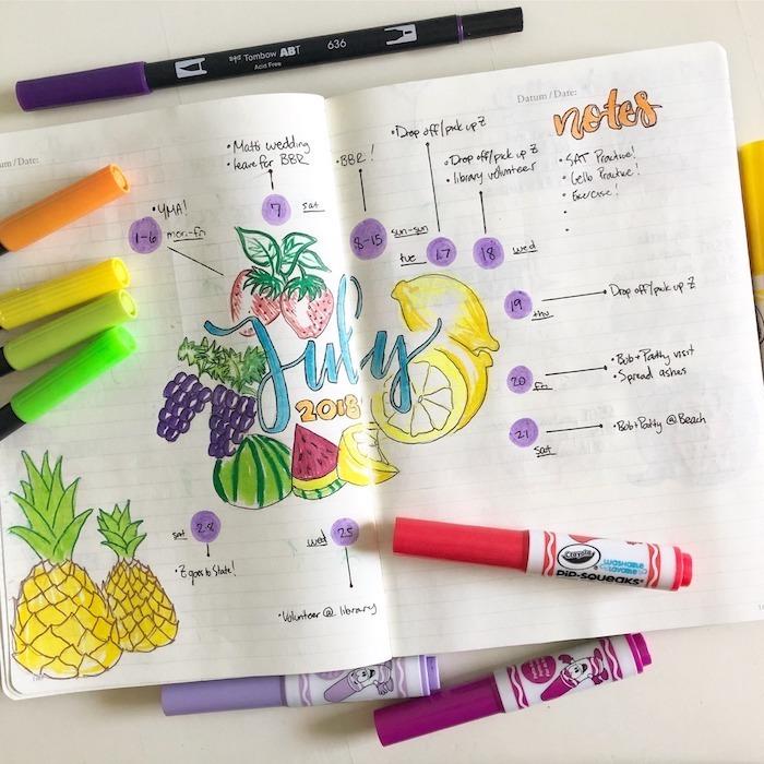 planning di mois dans un diy agenda avec un dessin mois de juillet entouré de fruits et idées d objectifs et occupations autour