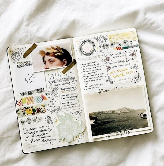 décoration bullet journal idées vintage avec des cartes et photo vintage, bandes de washi tape, petits dessins en noir et blanc, fleur en papier