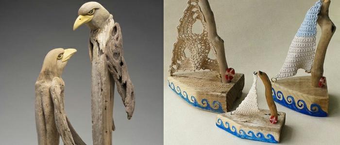 objets créés avec du bois flotté, deux aigles, bateaux, décoration sophistiquée créée en matériaux bruts