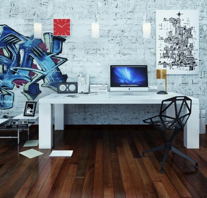 bureau blanc, papier peint mur de briques, graffiti, chaise super cool géométrique, sol en planches
