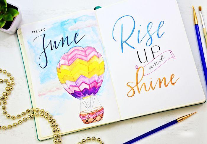 diy agenda avec un dessin coloré, mois de juin et une citation simples pour accueillir le mois