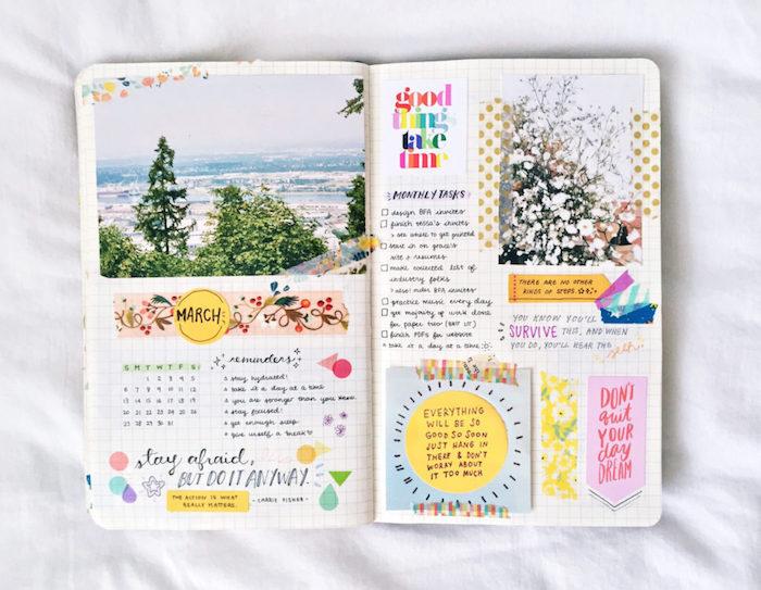 listes avec des objectifs pour le mois de mai, citations motivants sur bouts de papier colorés, washi tape, photo et dessins