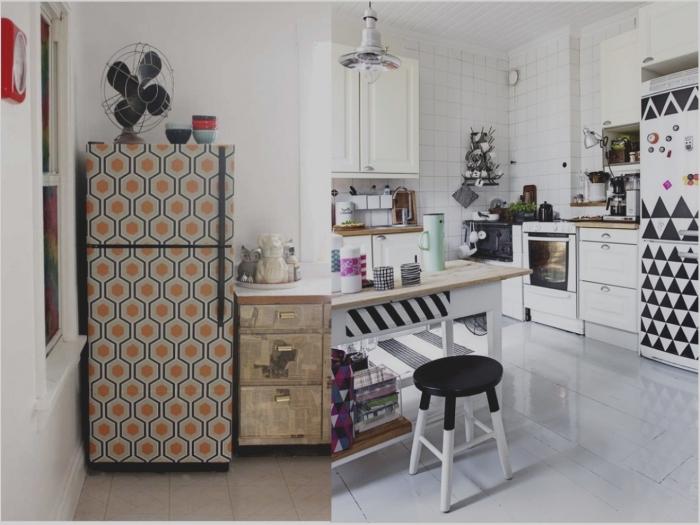 relooker un meuble avec du papier peint, du papier peint graphique sur le réfrigérateur pour créer un accent coloré dans la cuisine