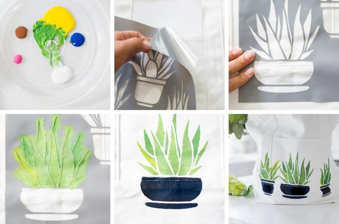 pochoir cactus et peinture textile pour faire un dessin sur tissu, modèle de sac à main DIY aux motifs cactus