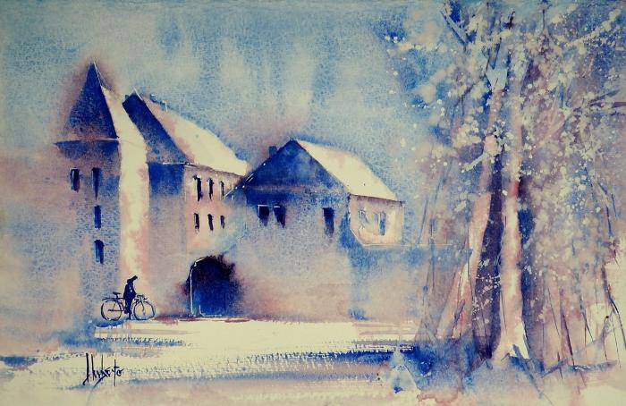 peinture à l'aquarelle paysage enneigé d'une grande poésie aux nuances de bleu et de rose pâle