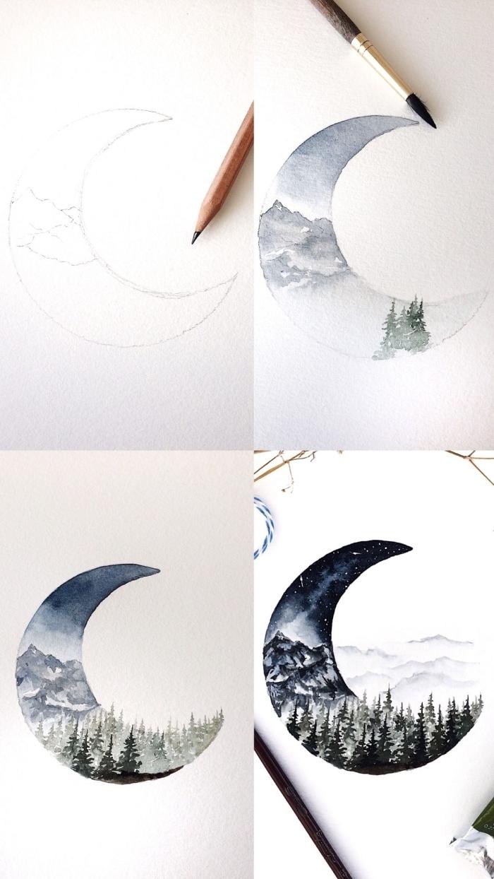 paysage aquarelle nocturne réalisé à l'intérieur d'un croissant de lune