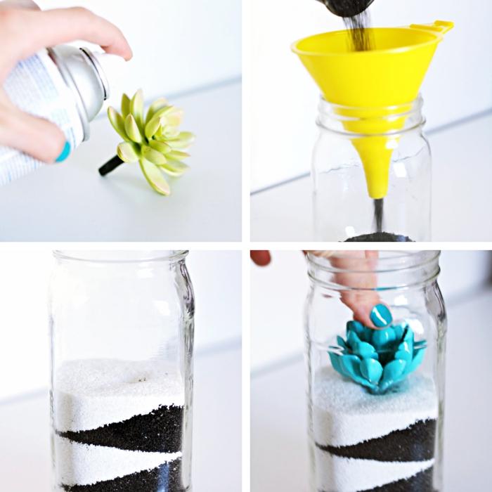 tuto facile pour apprendre à réaliser un terrarium avec mini fausses plantes succulentes peintes et mises dans un bocal en verre