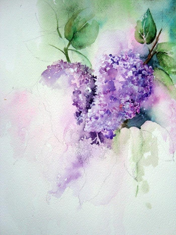 des lilas réalisés à l'aquarelle, peinture facile à l'aquarelle aux couleurs qui se fondent naturellement