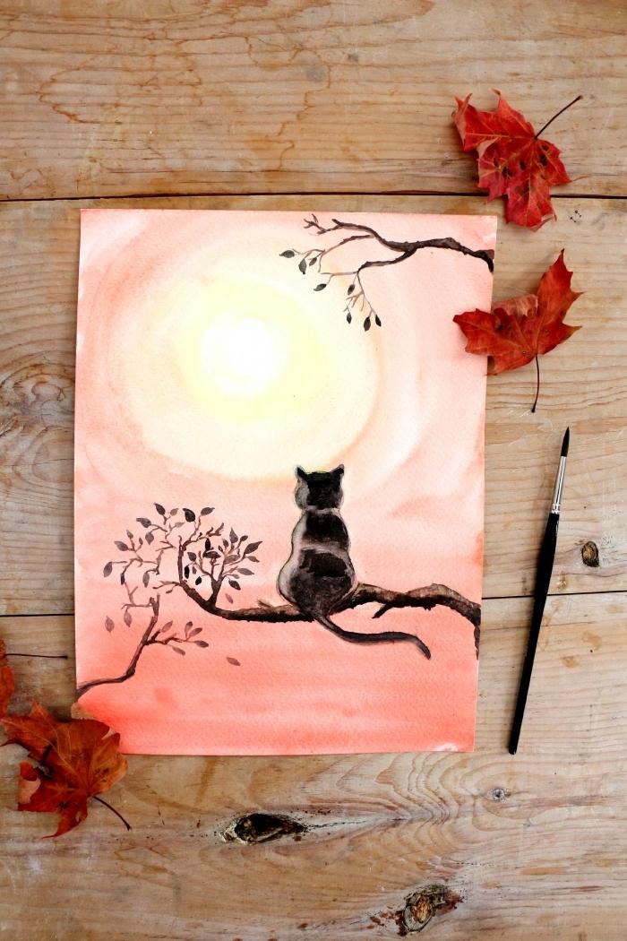 jolie peinture aquarelle représentant un chat noir perché sur une branche, regardant le coucher de soleil, tuto peinture pour apprendre les bases de l'aquarelle