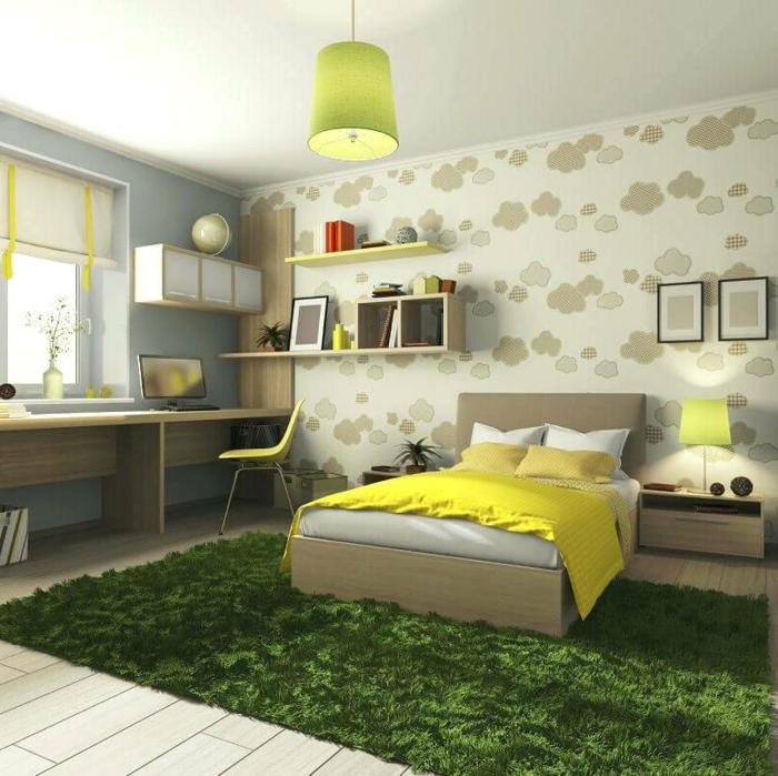 peinture chambre enfant, plafonnier vert, lit gris et jaune, étagères minimalistes, bureau long