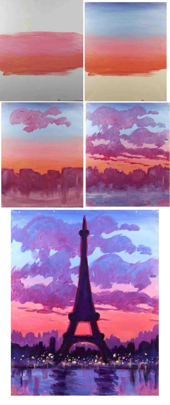 paysage aquarelle représentant le coucher de soleil et la silhouette de la tour eiffel