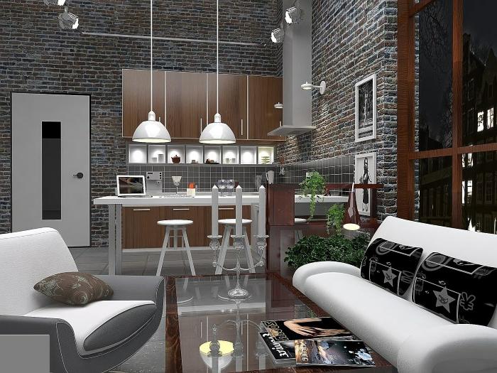 cuisine grise style loft, bar de cuisine blanc, tabourets blancs, lampes pendantes industrielles