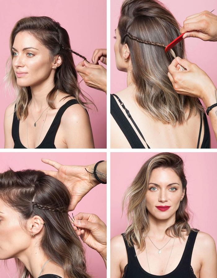 exemple comment faire une tresse africaine, idée coiffure facile aux cheveux de côté avec petite natte française