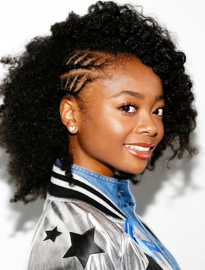 coupe cheveux frisés naturel, modèle de coiffure sur cheveux crépus façon blow out avec deux tresses collées sur le côté