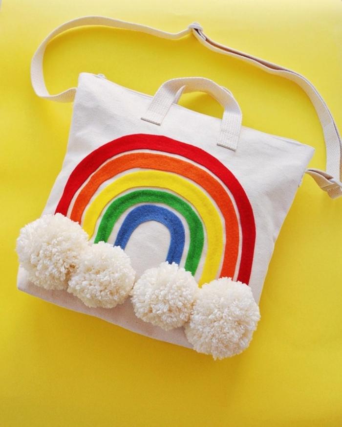 b1de21212d exemple de sac cabas personnalisé avec bandeau de tissu colorées à design  arc en ciel et