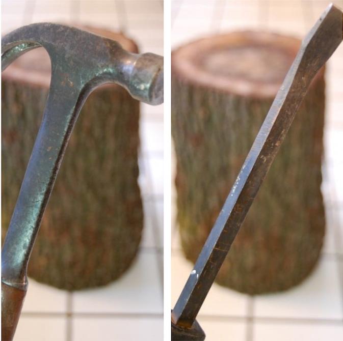 tuto pour fabriquer table basse en rondin de bois et retirer ecorce avec marteau