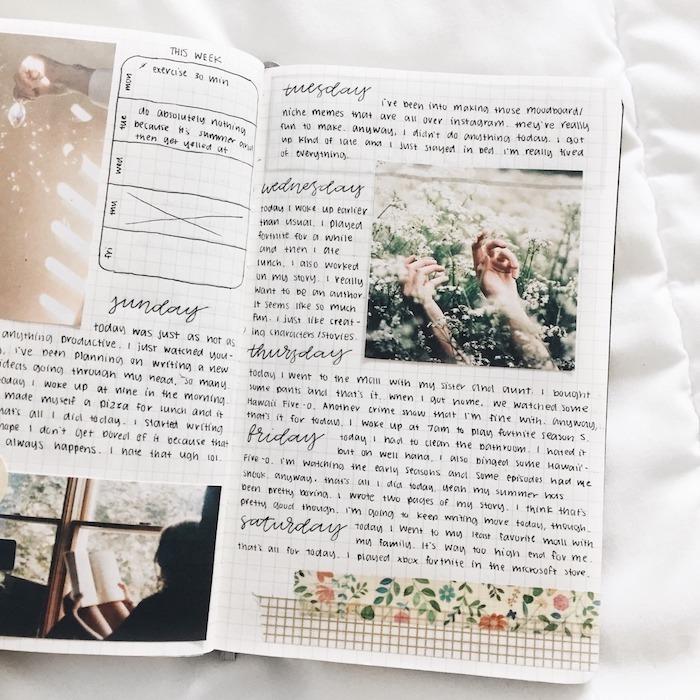 planning semainier avec les occupations et les tâches au jour par jour, photos style tumblr et bandes de washi tape décoratives