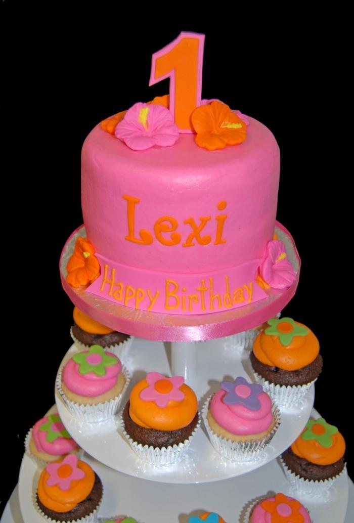 gateau cupcakes en rose et orange, gateau d'anniversaire enfant 1 an, pièce montée