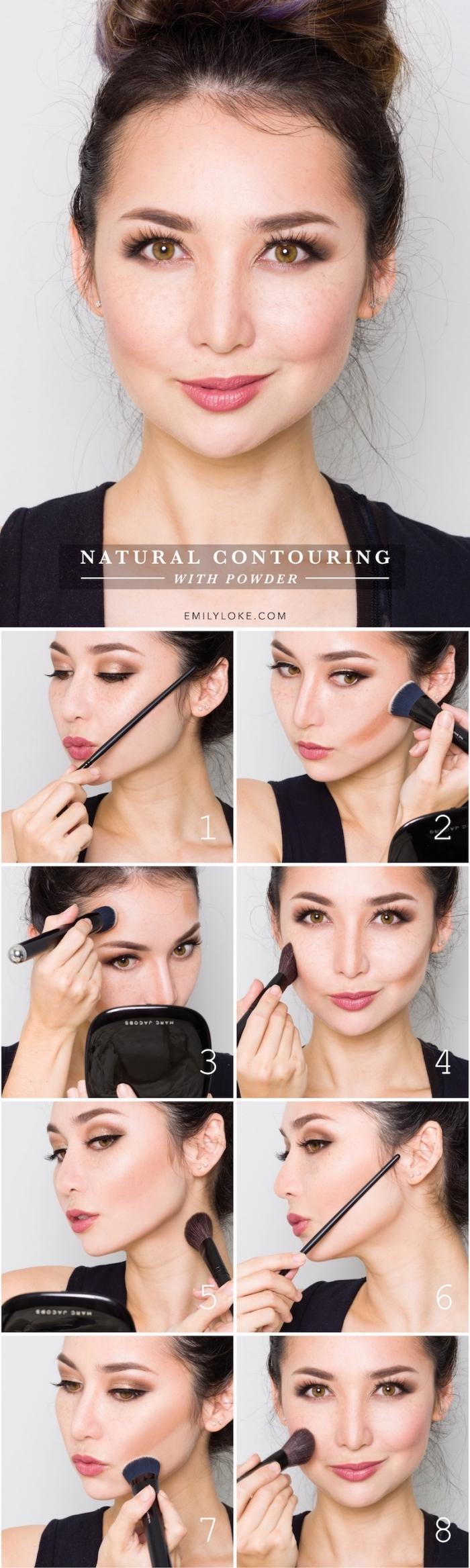 tutoriel facile pour apprendre comment réaliser un contouring léger sur peau claire, sculpter son visage avec teinte foncée