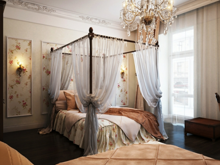 deco chambre parentale en rose et blanc, lit baldaquin, plafonnier en cristal, grande fenêtre