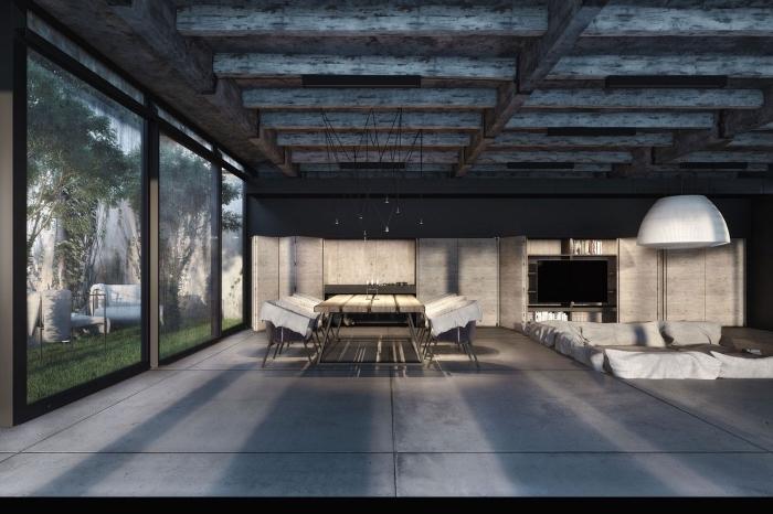 idée design intérieur de style contemporain aux couleurs foncées avec murs en noir mate et plafond en poutres bois peint en gris foncé