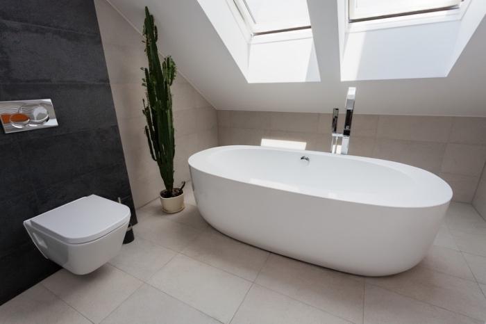 agencement pièce sous combles avec fenêtre de plafond, design intérieur stylé aux murs beige et pan de mur foncé