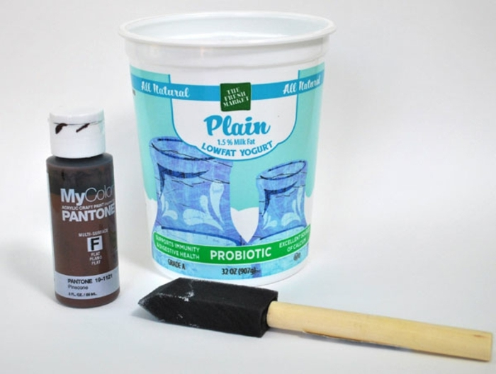 bois flotté déco, pot de yaourt, peinture acrylique, créations artistiques