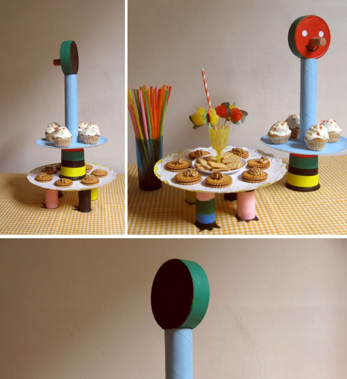 présentoir gâteau original réalisé entièrement en carton, activité manuelle avec rouleau papier toilette