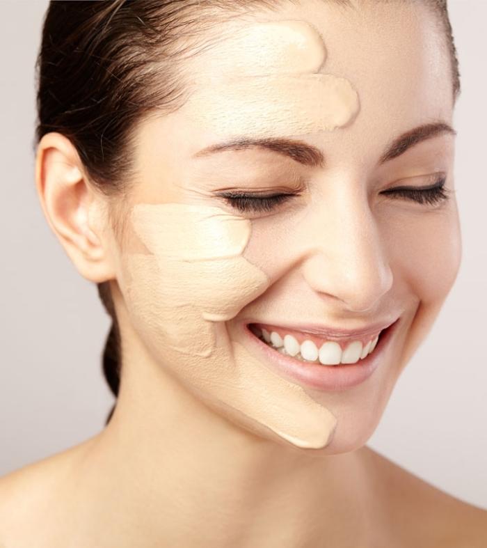 choisir les produits contouring, modèle de fond de teint en liquide, technique maquillage tendance avec contouring visage