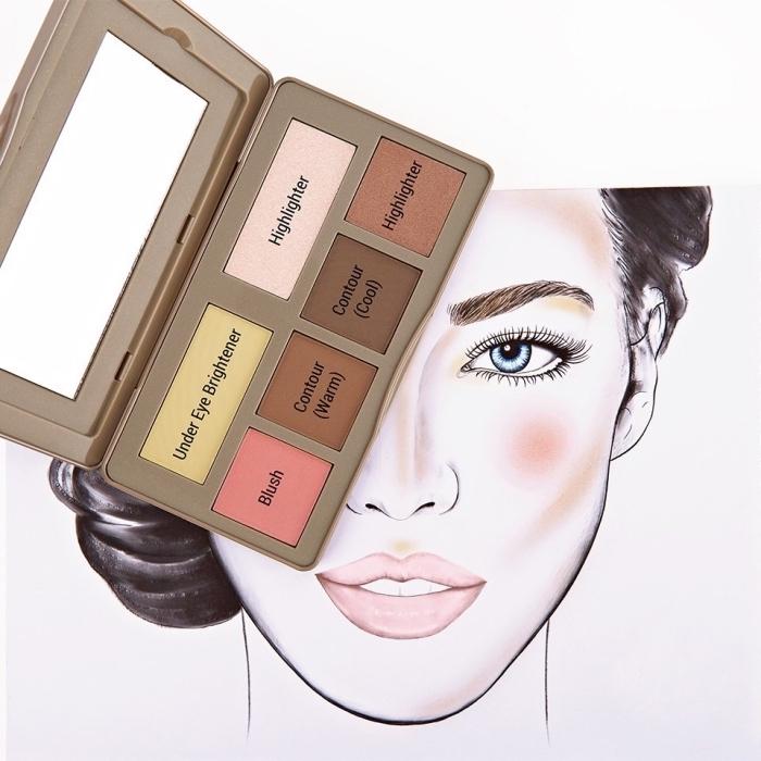 exemple de produit contouring avec une palette composée de highlighter correcteur et illuminateur, technique de maquillage tendance