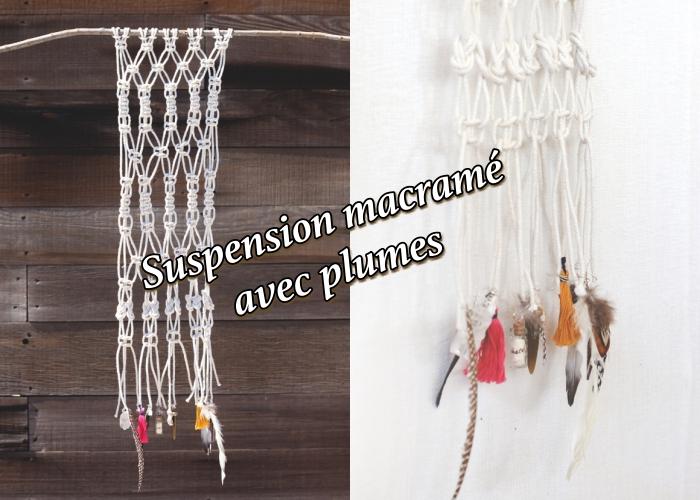 tuto macramé suspension facile avec bâton de bois et déco en plumes, idée comment faire un objet macramé facile